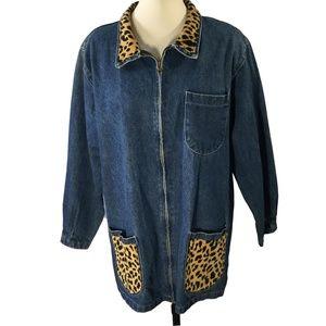 Totally 80s Denim Leopard Zipfront Jacket M/L